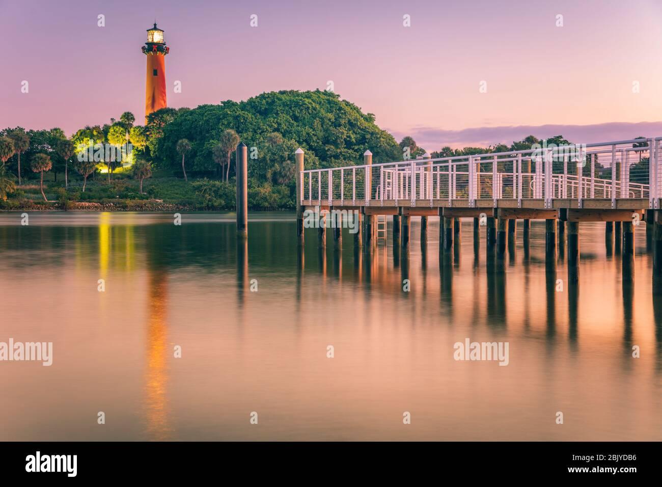 Jupiter Inlet Lighthouse. Jupiter, en Floride, USA. Banque D'Images
