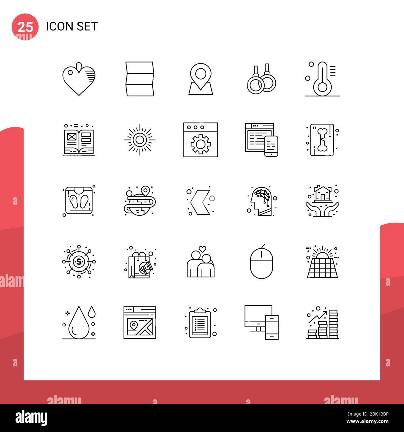 25 concept de ligne pour les sites Web Mobile et Apps art, thermomètre, marqueur, température, sport Editable Vector Design Elements Illustration de Vecteur