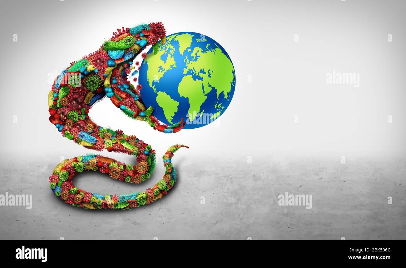 Les maladies infectieuses mondiales sont un danger en tant que groupe de cellules virales et de microbes bactériens façonnés comme un serpent comme icône médicale et pathogène ou de santé. Banque D'Images