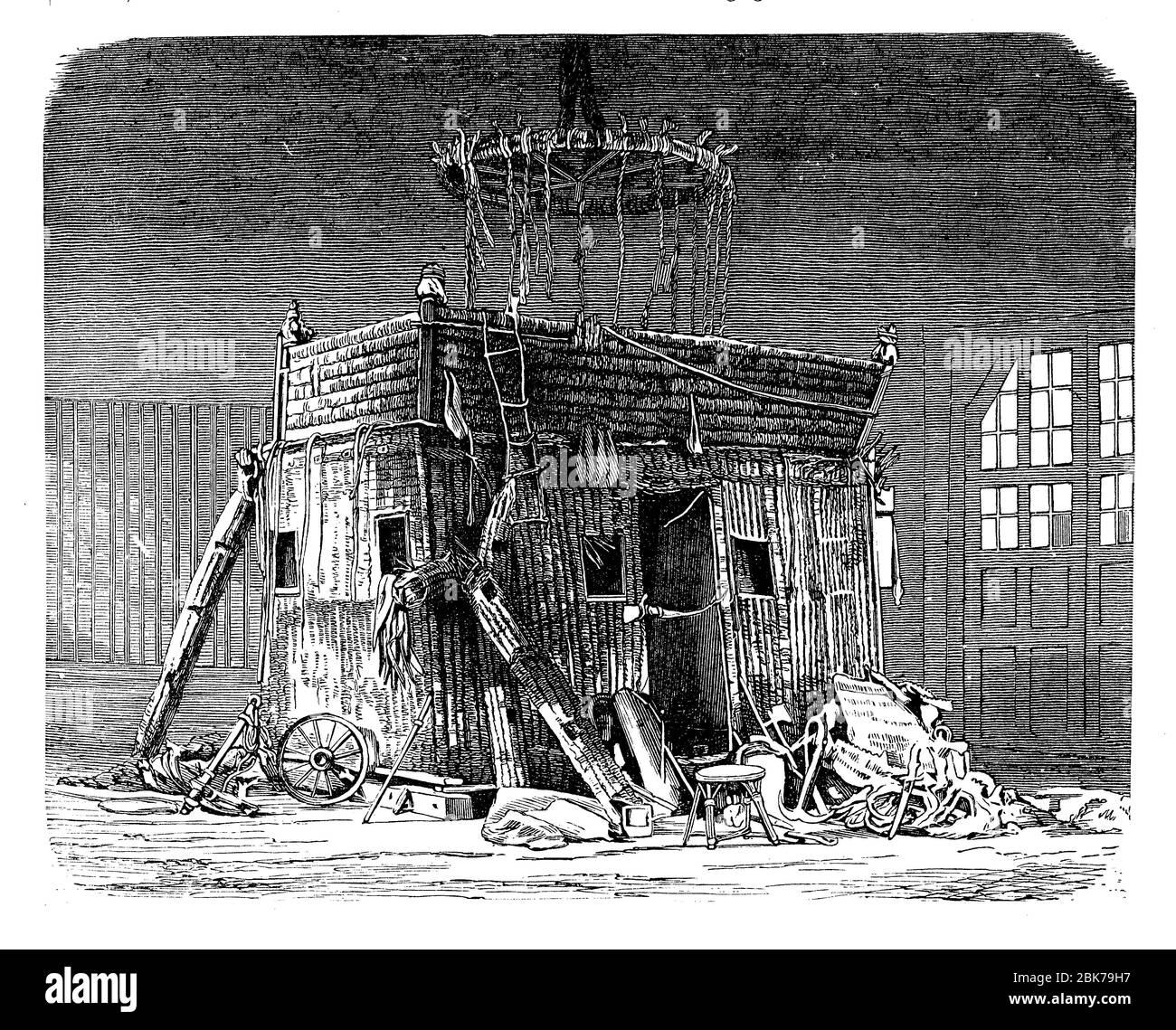 La télécabine de deux étages en osier avec un balcon du ballon le Geant après la catastrophe en 1863 Banque D'Images