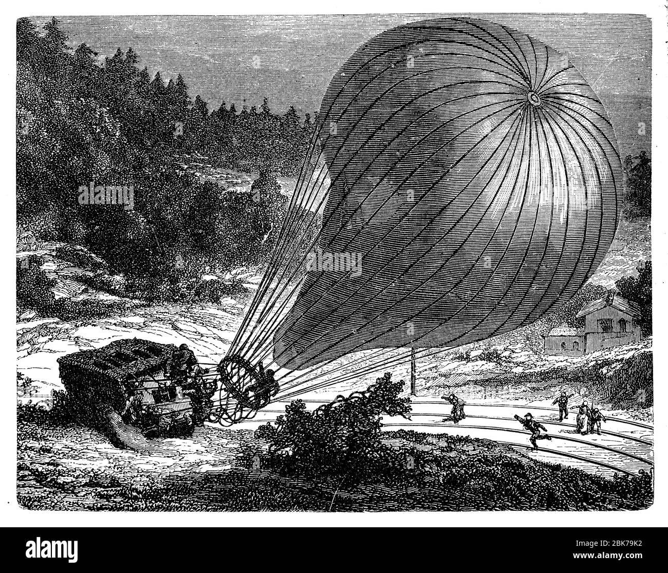 Catastrophe du ballon le Geant de Felix Tournachon, le premier photographe aérien, près de Hanovre en 1863 Banque D'Images