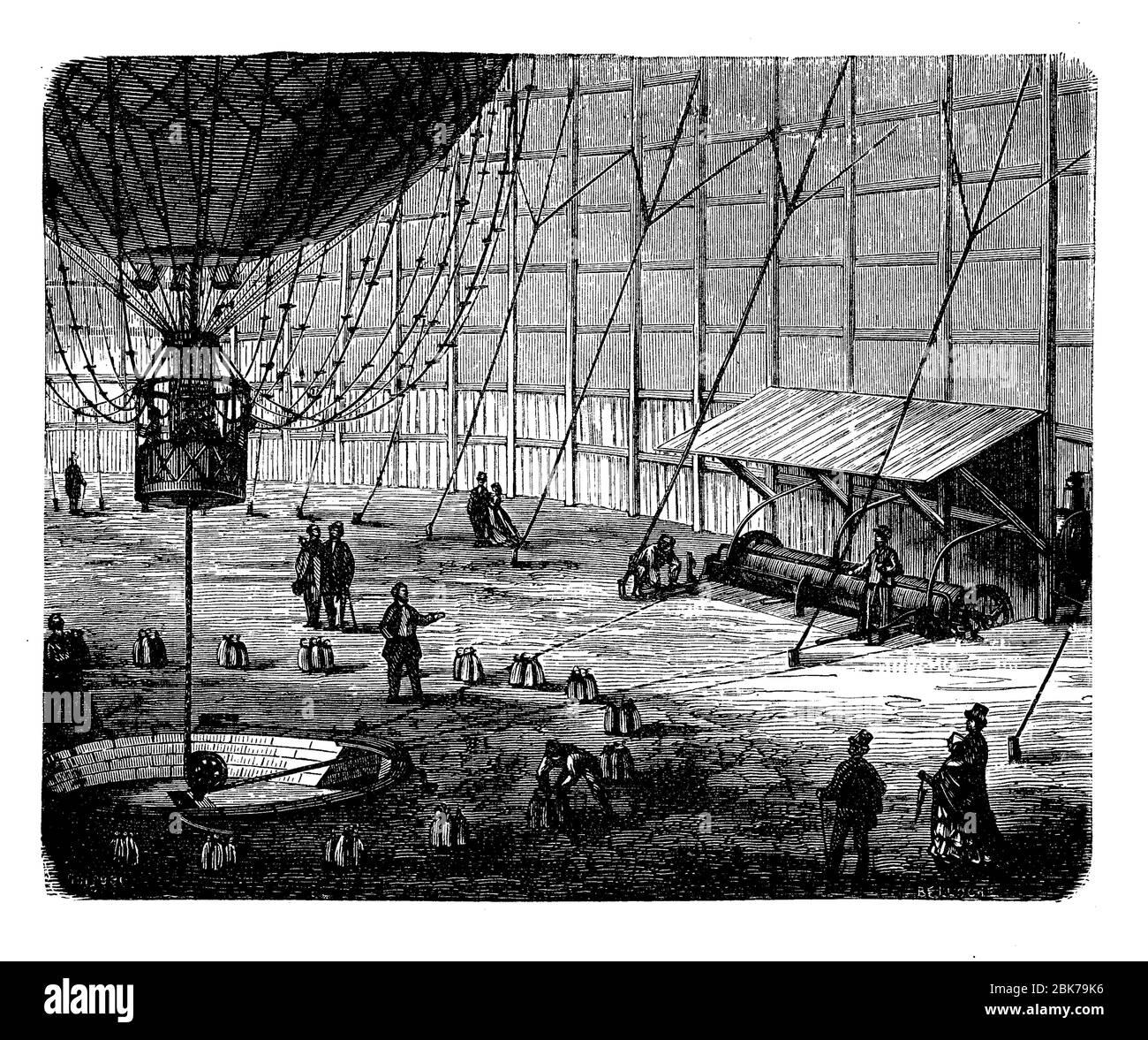 Ascension captive du ballon d'Henri Giffard lors de l'exposition de Paris de 1867 Banque D'Images
