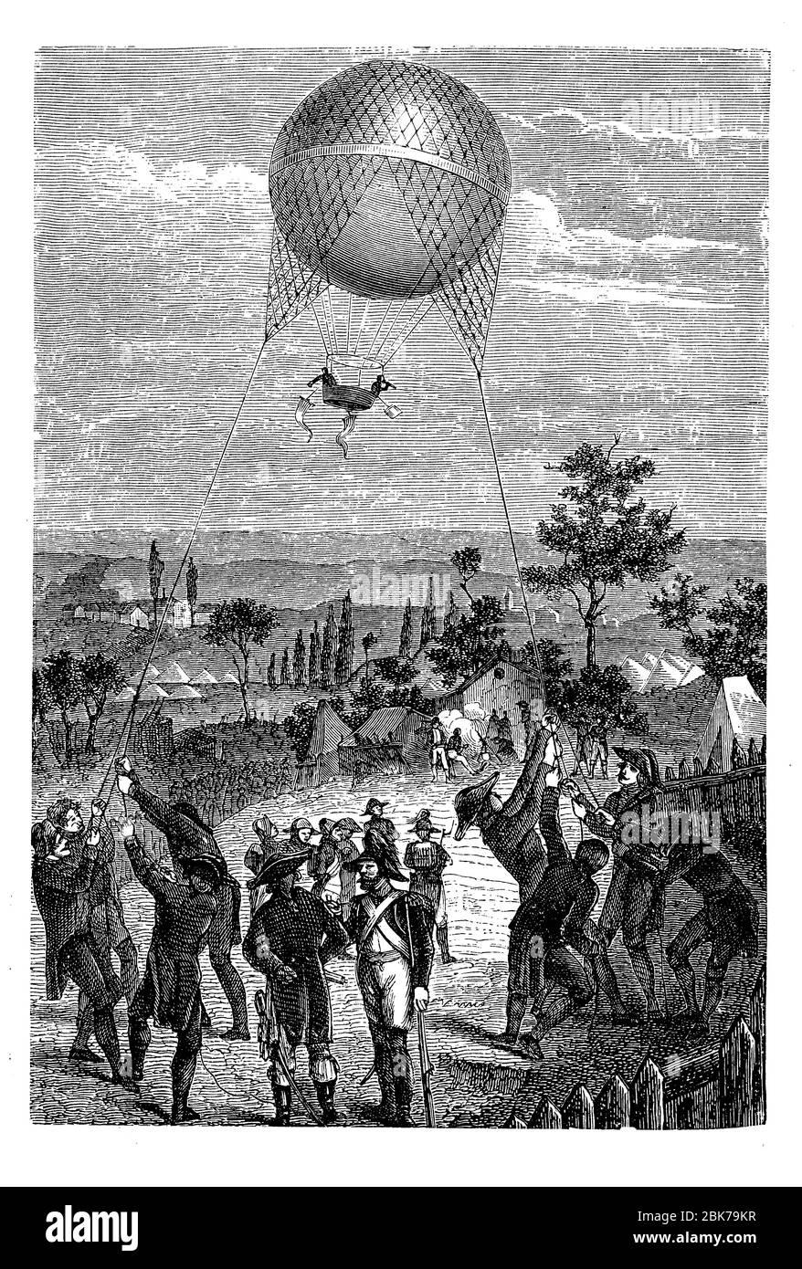 Reconnaissance aérienne: Service de montgolfière d'observation de Godard utilisé par l'armée française dans la guerre franco-autrichienne de 1859 Banque D'Images