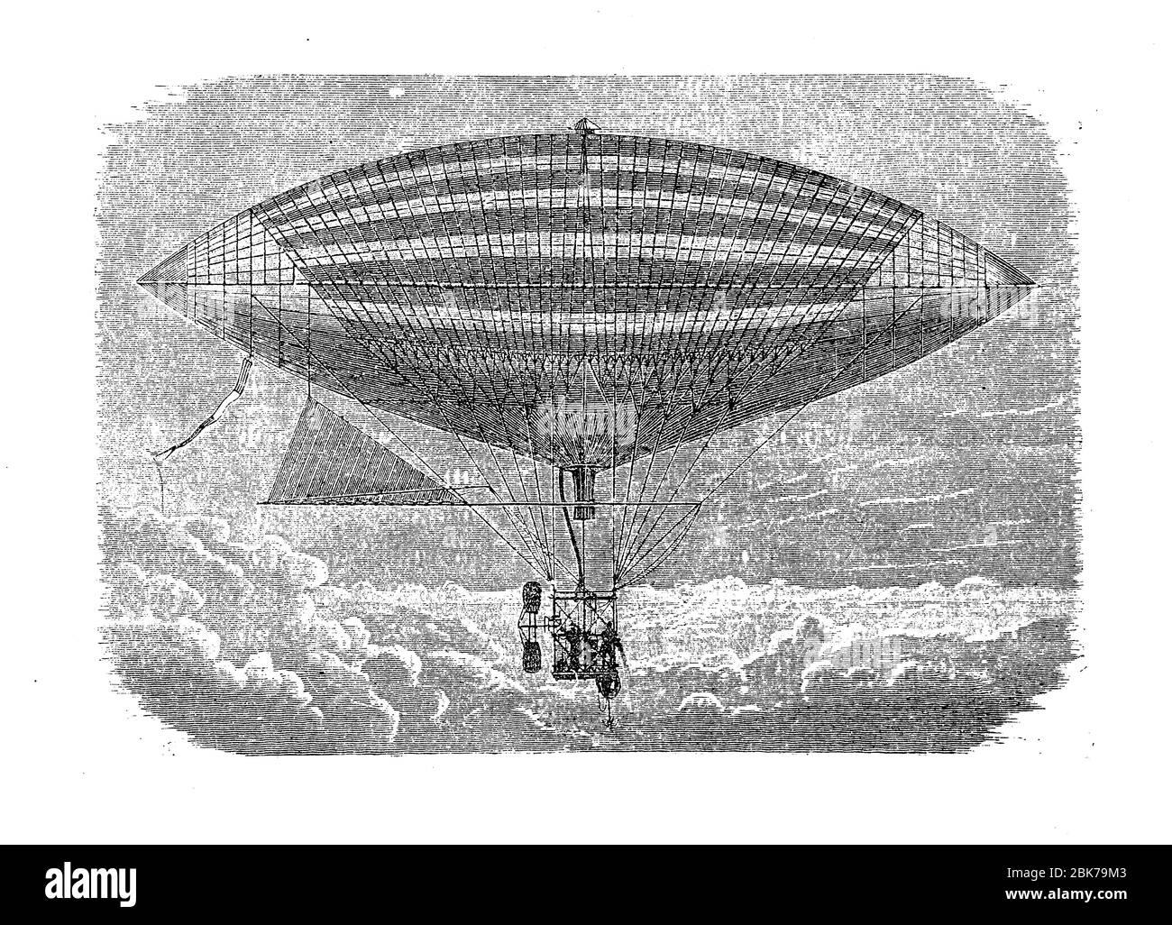 Le premier vol électrique de Gaston Tissandier Français aéronautique en 1883, portant un moteur électrique avec hélice dans la télécabine de son ballon d'air chaud Banque D'Images