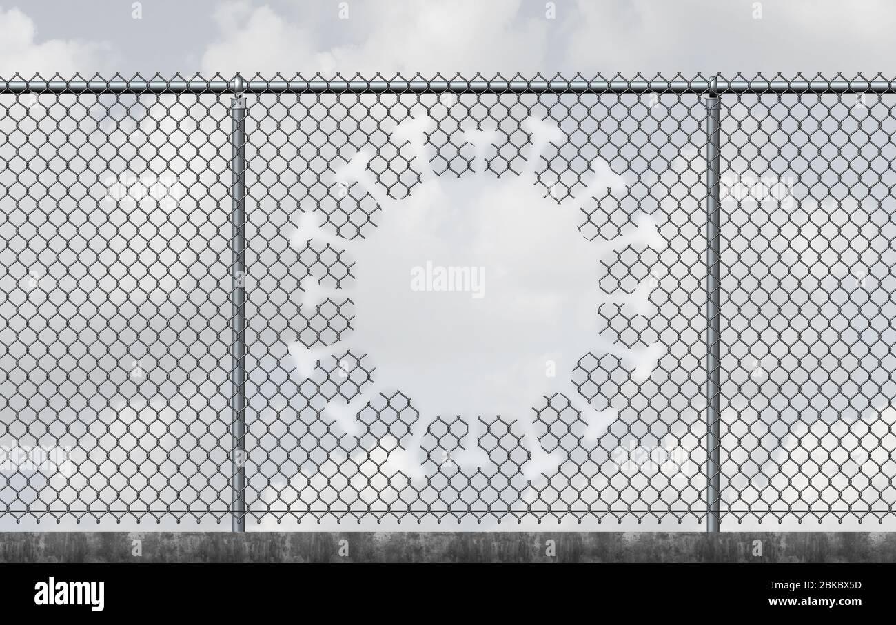 La liberté du virus et le verrouillage du concept d'évacuation comme une barrière de lien de chaîne avec un trou en forme de cellule virale contagieuse comme une réouverture d'une épidémie. Banque D'Images
