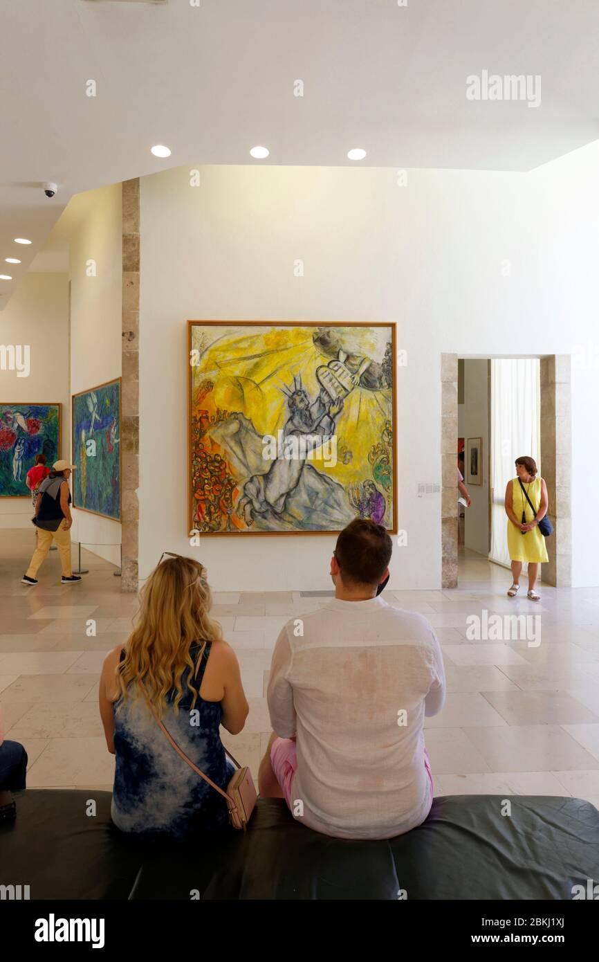 France, Alpes Maritimes, Nice, Musée National de Marc Chagall par l'architecte André Hermant et créé à l'initiative d'André Malraux, salle des peintures du message biblique, Moïse recevant les tablettes de la Loi Banque D'Images