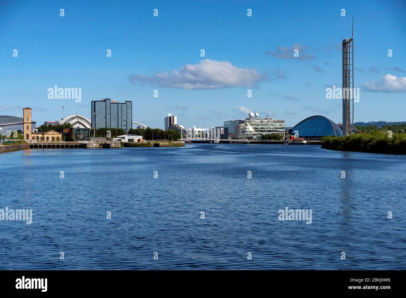 Royaume-Uni, Écosse, Glasgow, Clyde River, Glasgow Science Center Tower Banque D'Images