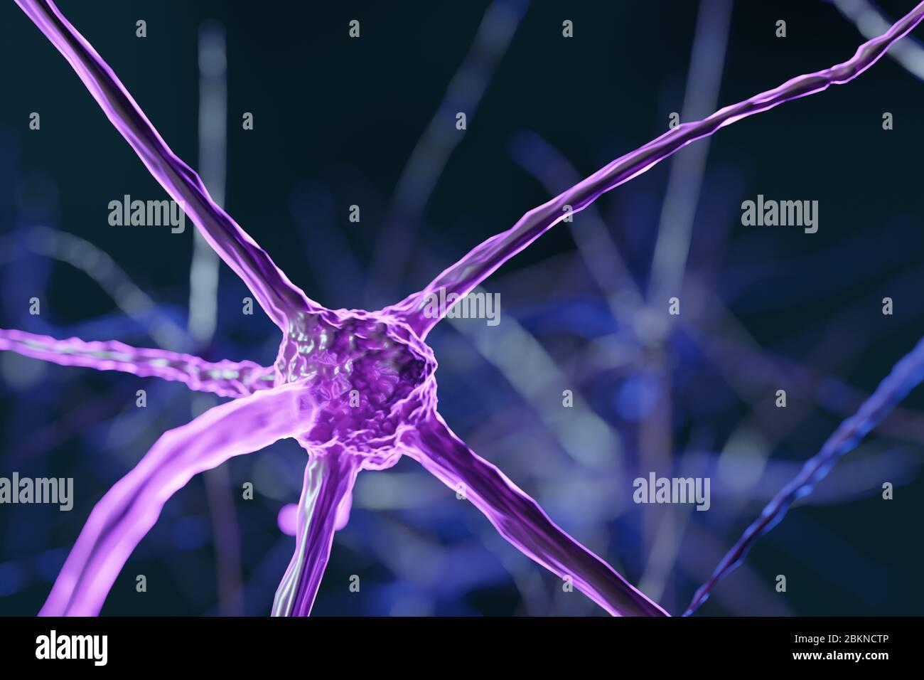 Cellules abstraites de neurones cérébraux avec nœuds de liaison. Les cellules Synapse et neurone envoient des signaux chimiques électriques. Neurones interconnectés avec des composants électriques Banque D'Images