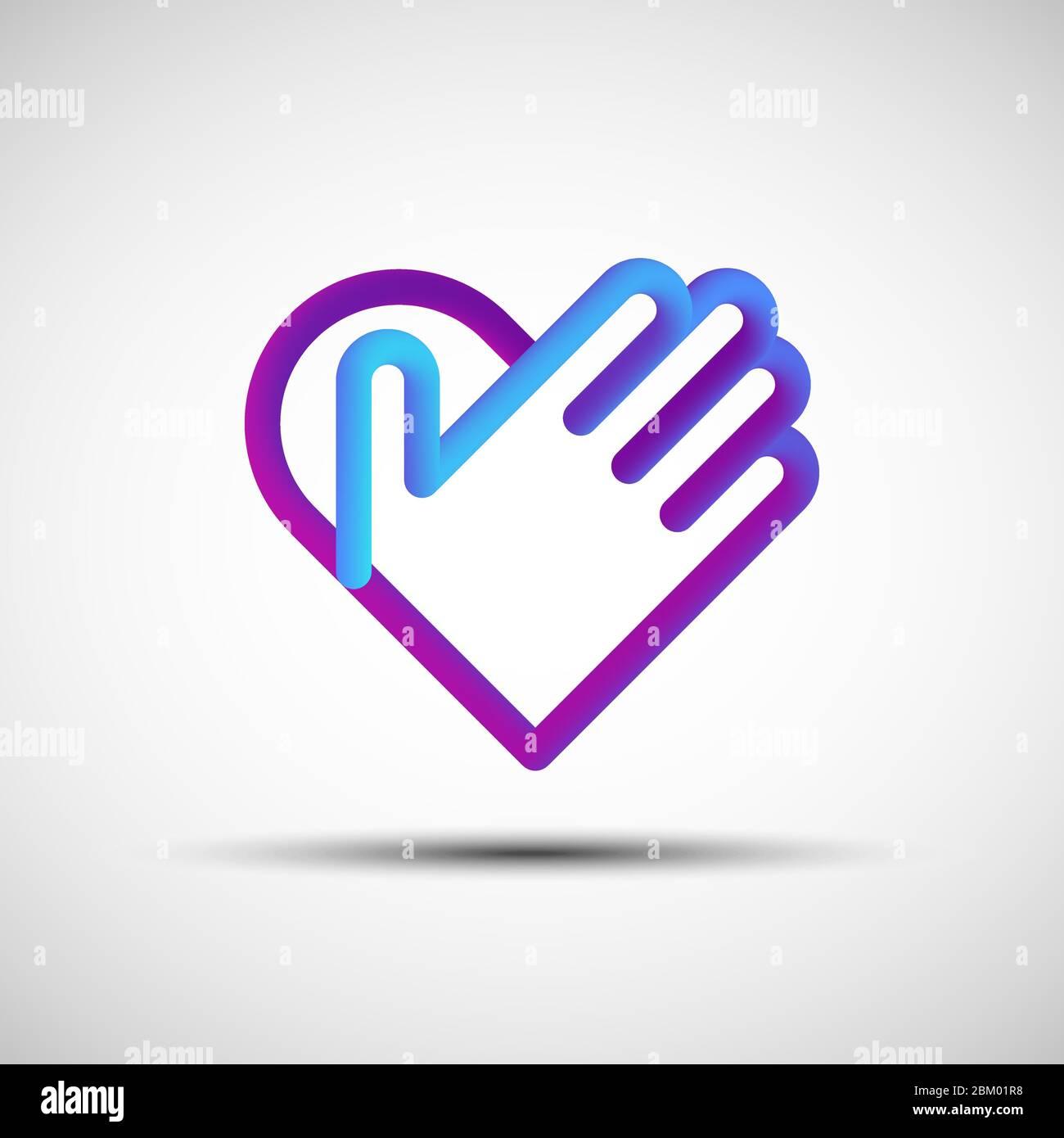 Remettez l'icône de la ligne de coeur mélangée. Illustration vectorielle d'un cœur abstrait 3d liquide avec icône, logo, signe ou emblème de la main sur fond blanc Illustration de Vecteur