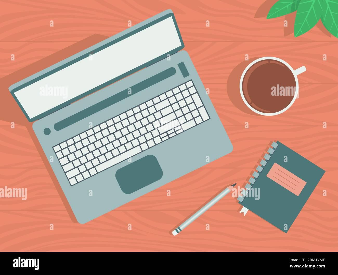 Espace de travail avec ordinateur portable, café, ordinateur portable et crayon. Illustration de Vecteur