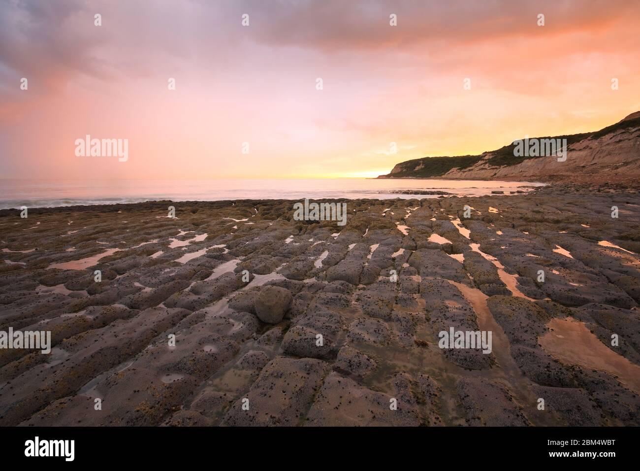 Formations rocheuses de plage à marée basse près de Hastings, Royaume-Uni. Banque D'Images