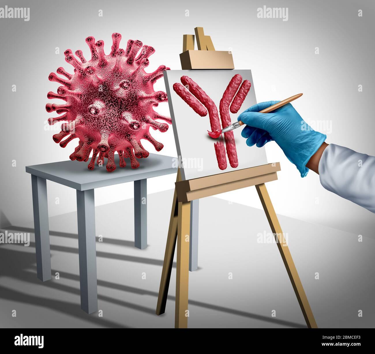 Concept de développement de vaccins contre le virus et recherche médicale sur la grippe ou le coronavirus comme immunoglobuline ou contrôle de la maladie avec un médecin créant un anticorps. Banque D'Images