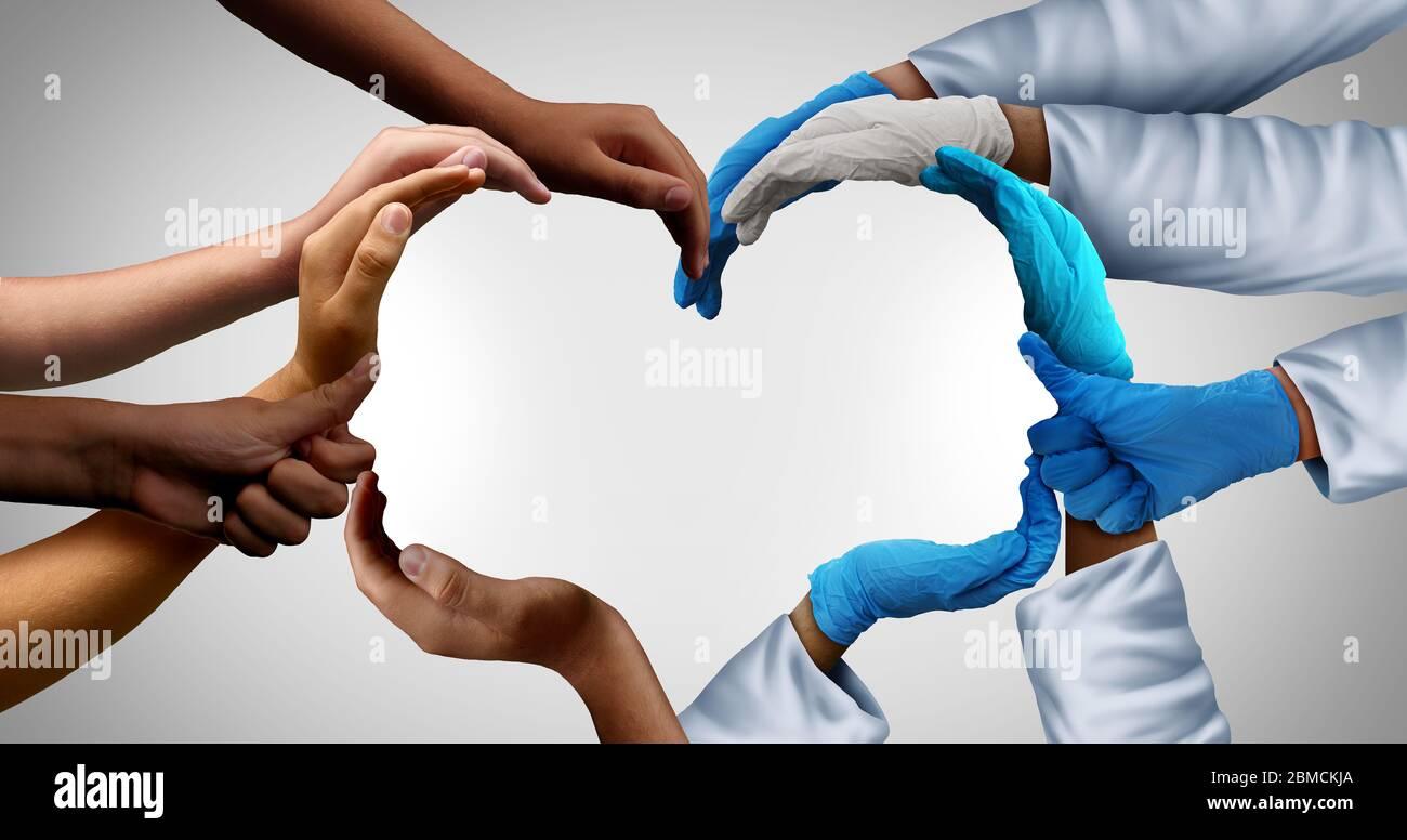 Les travailleurs de la santé communautaire et le groupe médical de première ligne et les patients travaillent en équipe en tant que groupe de médecins et d'infirmières qui se réunissent en tant que médecins. Banque D'Images
