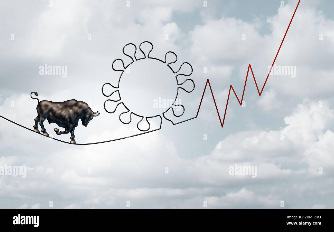 Bull pandémie de marché concept d'entreprise d'un risque financier comme un symbole de marché boursier bullish sur une corde serrée en forme de virus et de finance. Banque D'Images