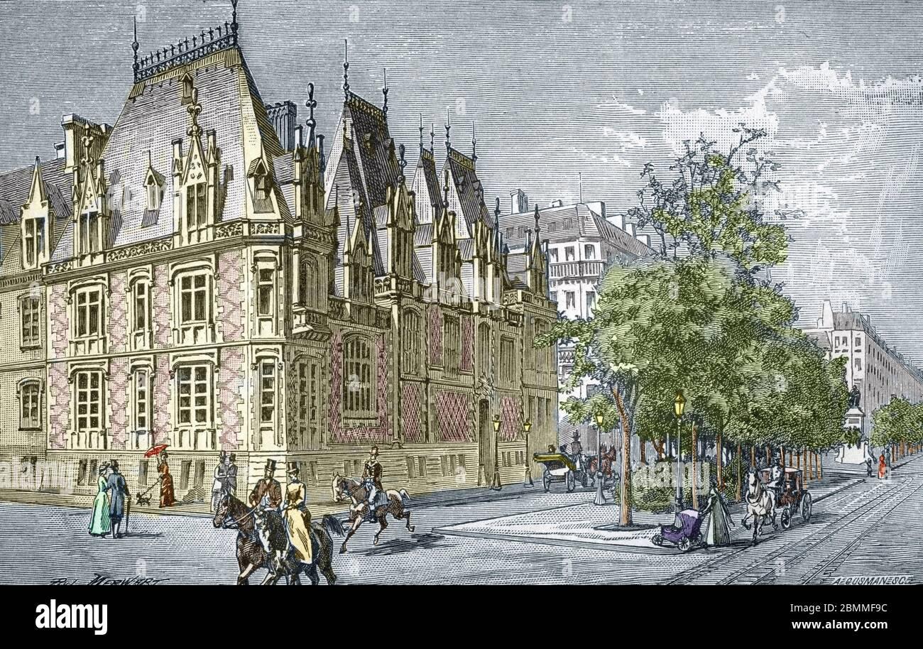 Transformations de Paris sous le deuxième Empire, Paris haussmannien : vue de la place Malesherbes (actuelle place du général Catroux), Creee en 1862 a Banque D'Images