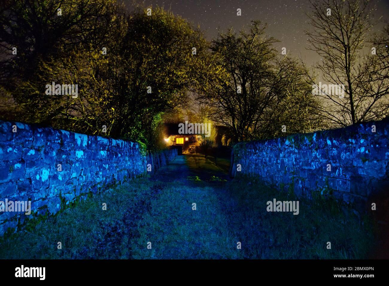 Photographie de peinture légère avec des lumières colorées Banque D'Images