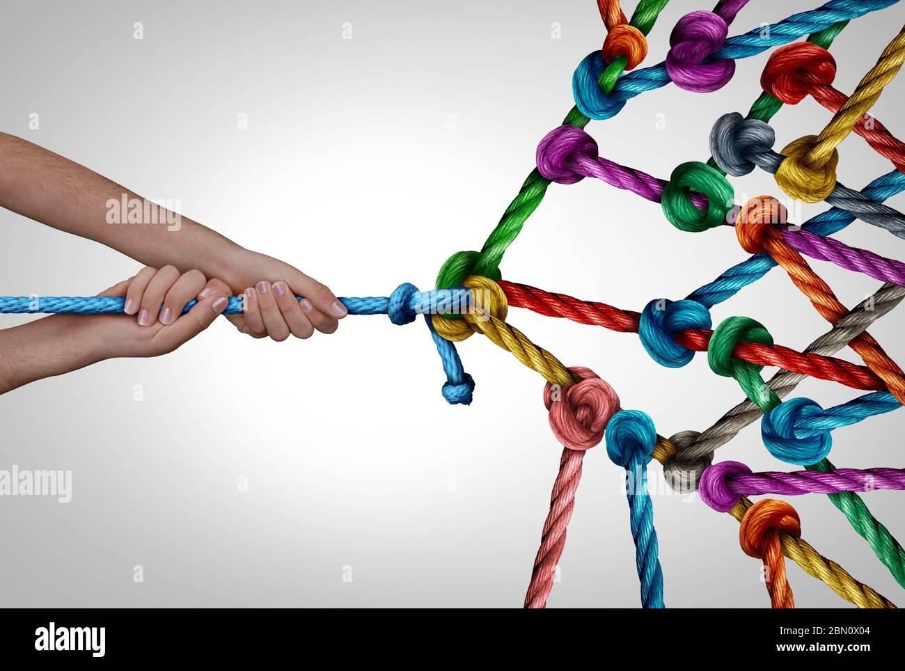 Gestion de réseau et directeur d'entreprise de groupe concept comme une personne tenant une corde unique tirant une grande bande de cordes connectées attachées ensemble. Banque D'Images