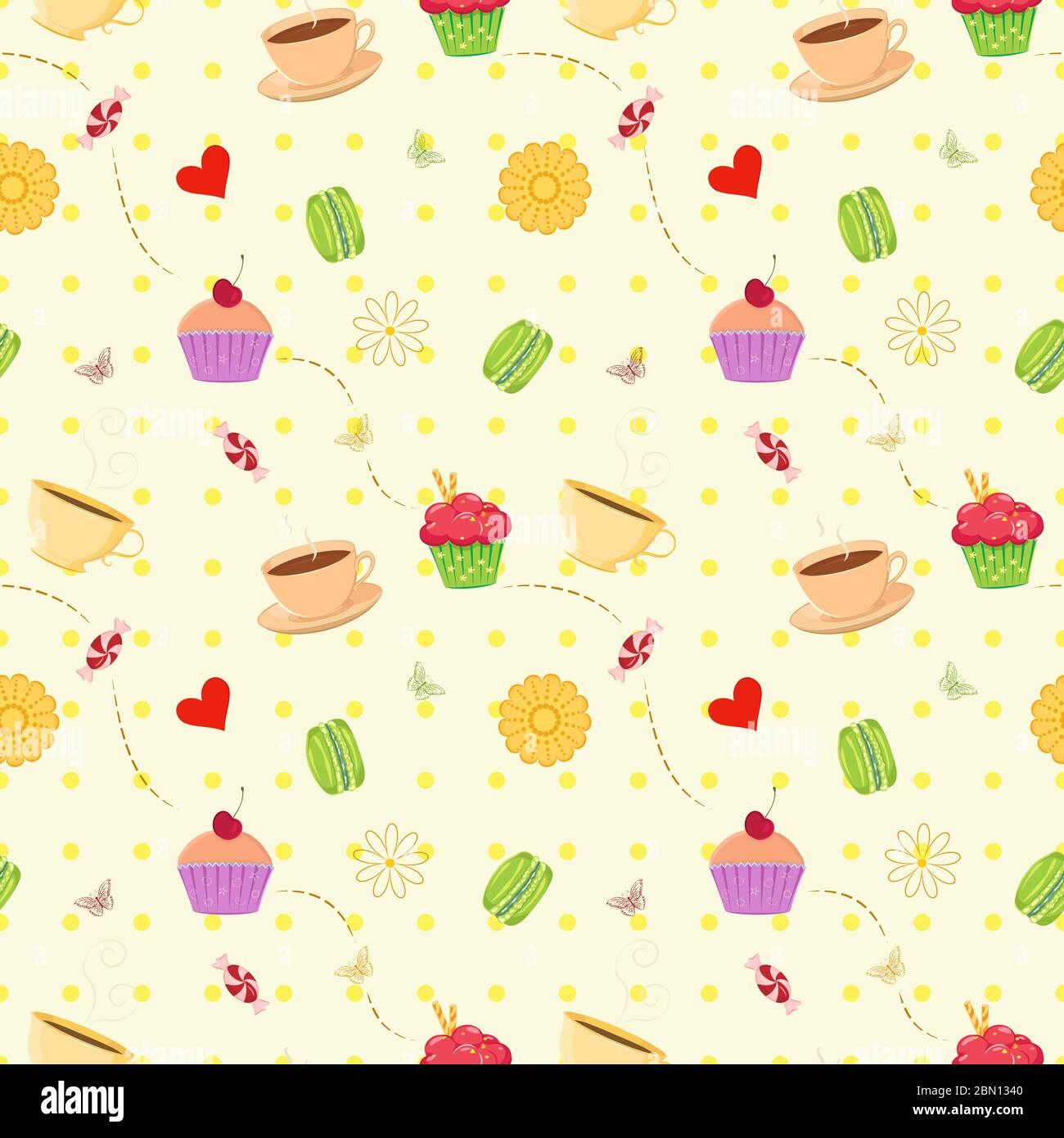 Motif vectoriel coloré sans couture avec cupcakes à dessert dessinés à la main, macarons, bonbons et tasses à thé. Un fond de cuisine unique et élégant sans couture avec Illustration de Vecteur