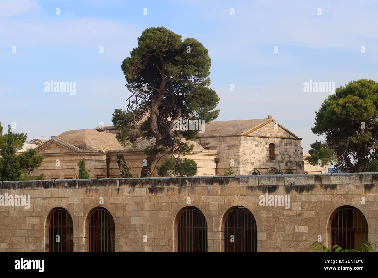 Avis de Deir Al Zeitoun, l'Église des Saints-archanges et le Patriarcat Arménien complexe dans le quartier arménien vieille ville Jérusalem Israël Banque D'Images