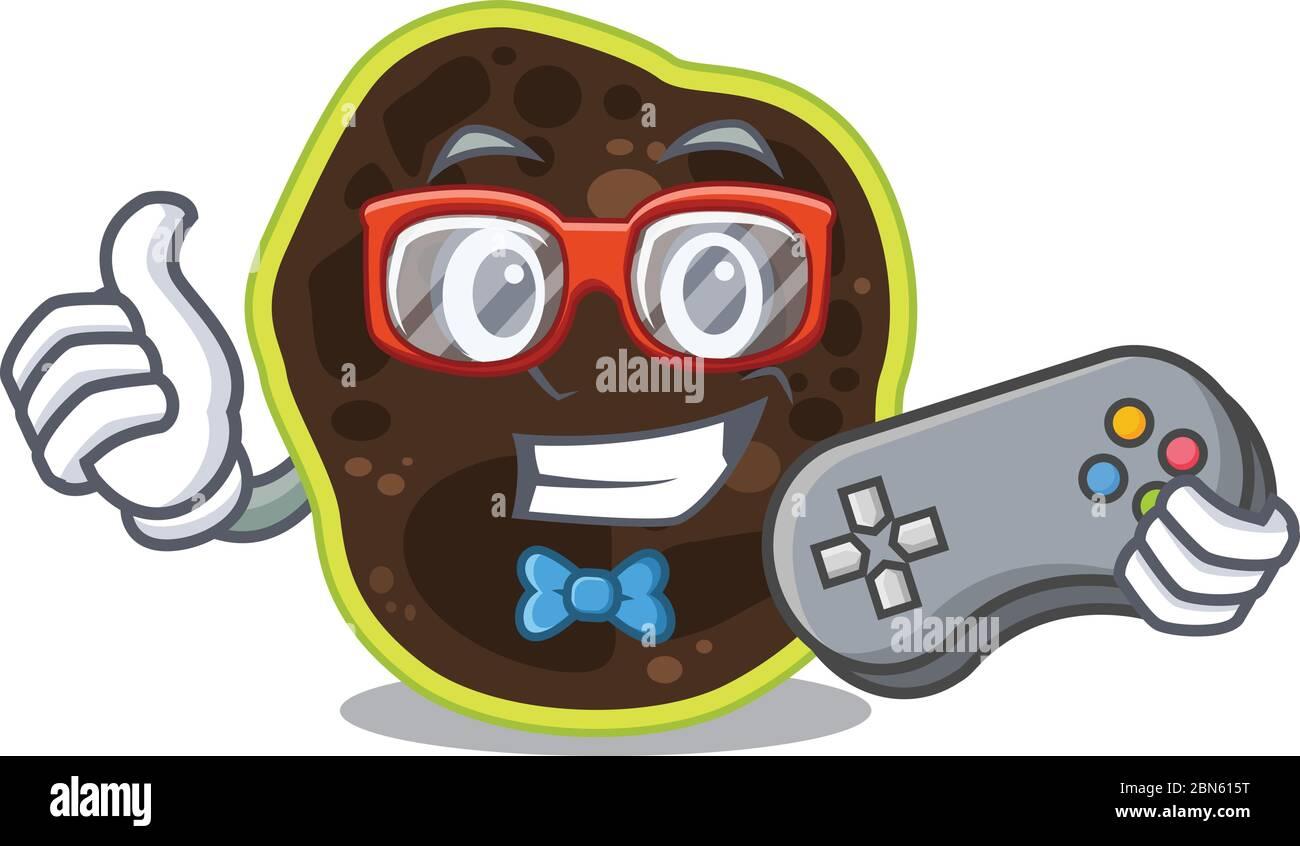 Mascotte design style de firmicutes joueur jouant avec la manette Illustration de Vecteur