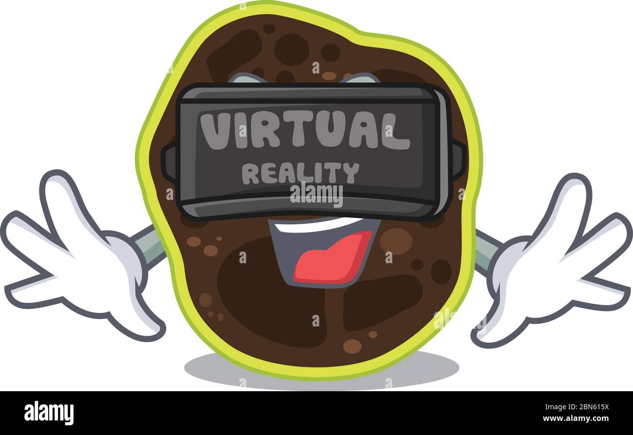 Une image de dessin animé de firmicutes utilisant un casque de réalité virtuelle moderne Illustration de Vecteur