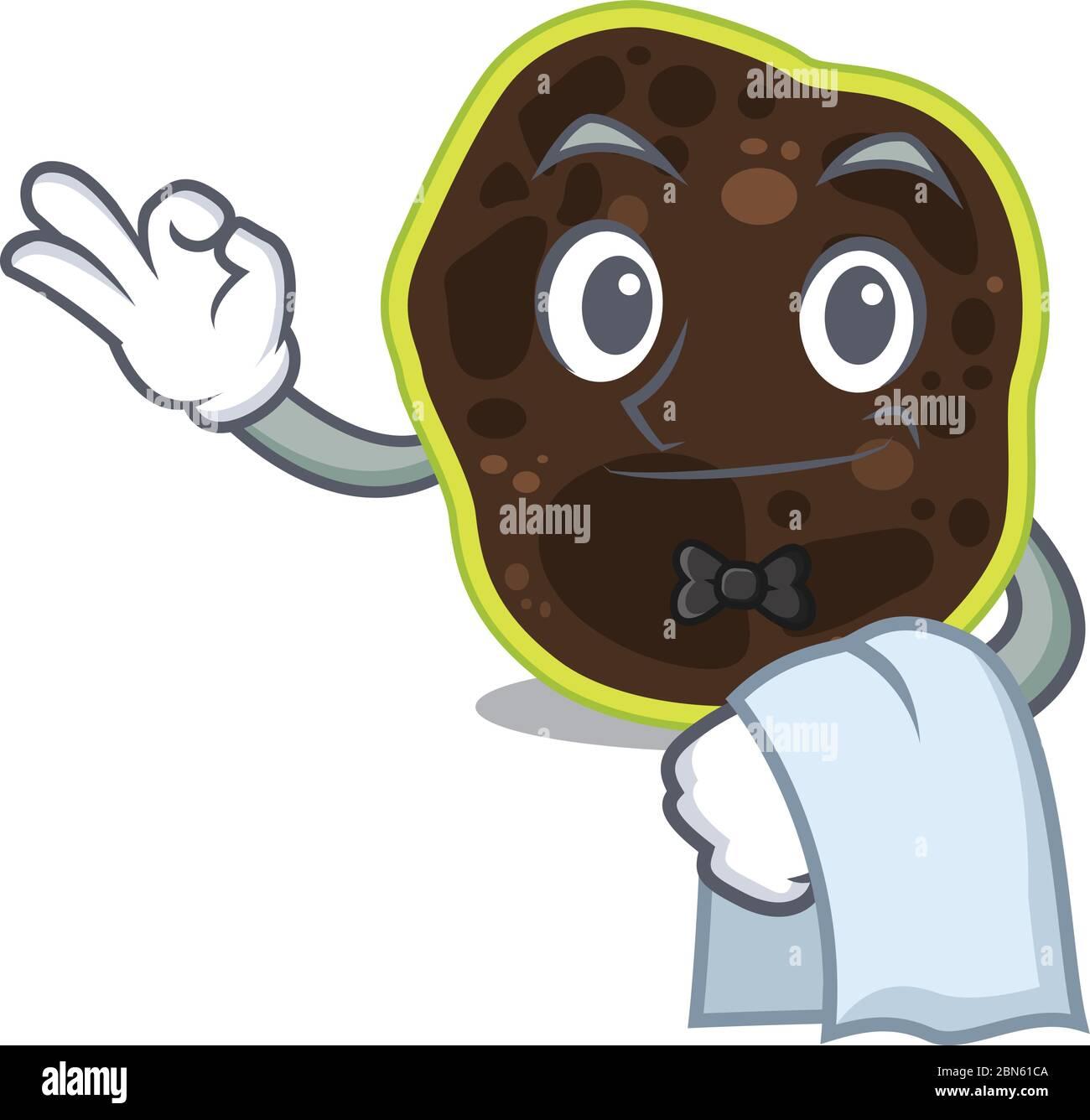 Une image de dessin animé de serveur firmicutes avec une serviette blanche Illustration de Vecteur