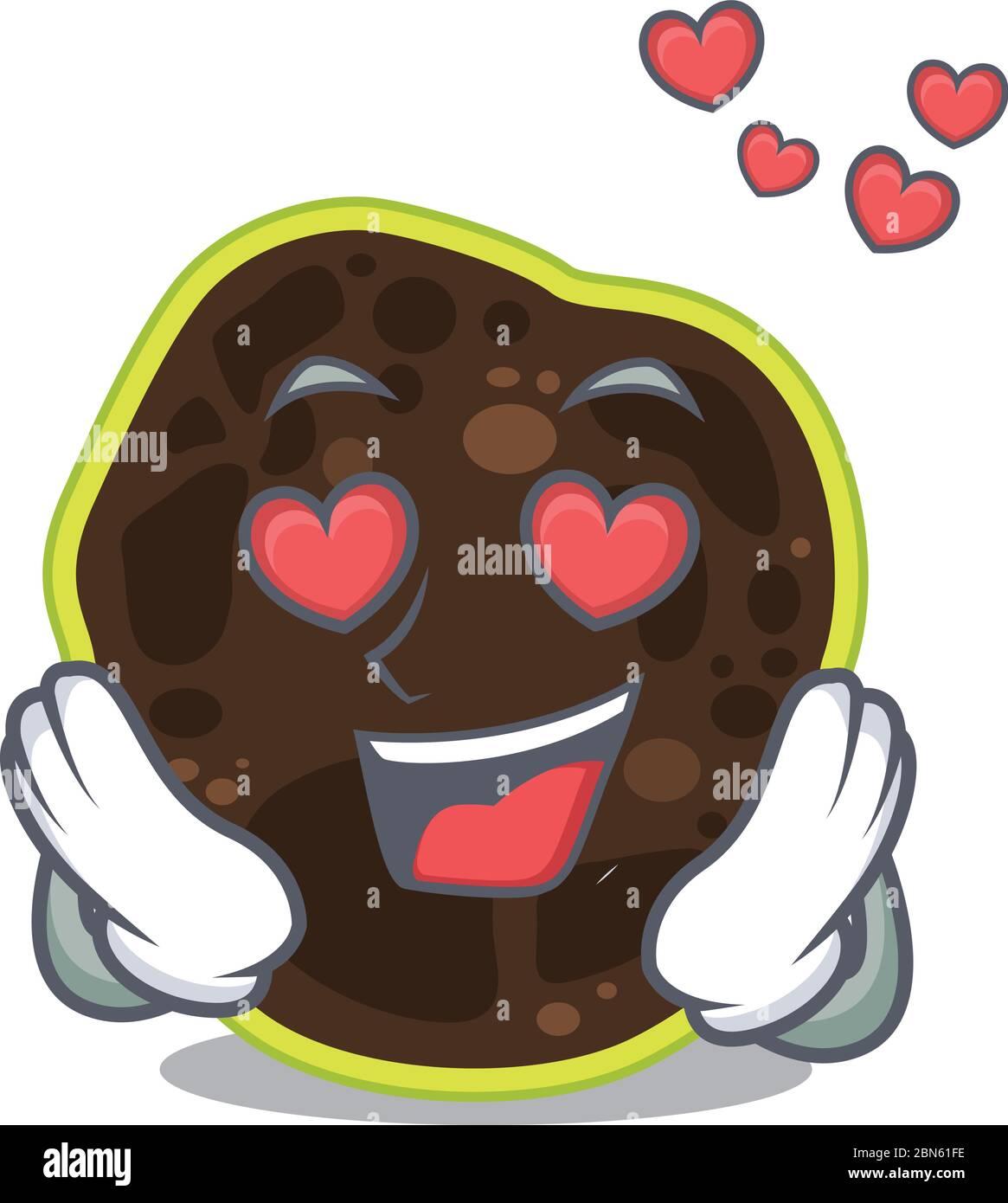 Romantique firmicutes personnage de dessin animé a un tombant dans les yeux d'amour Illustration de Vecteur