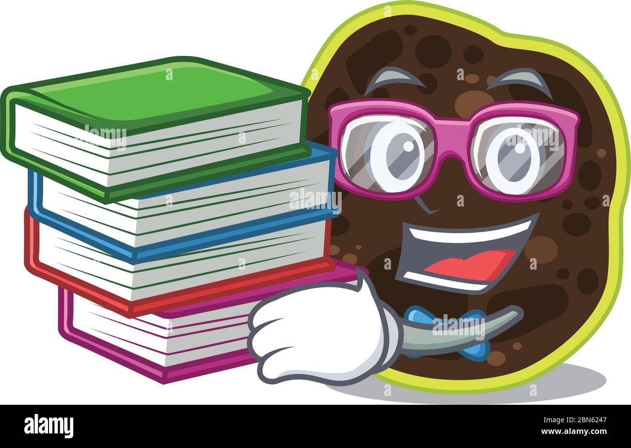Un étudiant diligent dans firmicutes concept de mascotte lire de nombreux livres Illustration de Vecteur