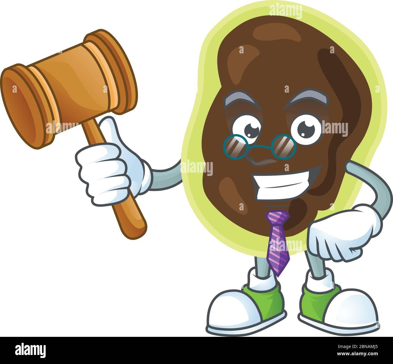 Un sage juge firmicutes dessin de mascotte de dessin animé portant des lunettes Illustration de Vecteur