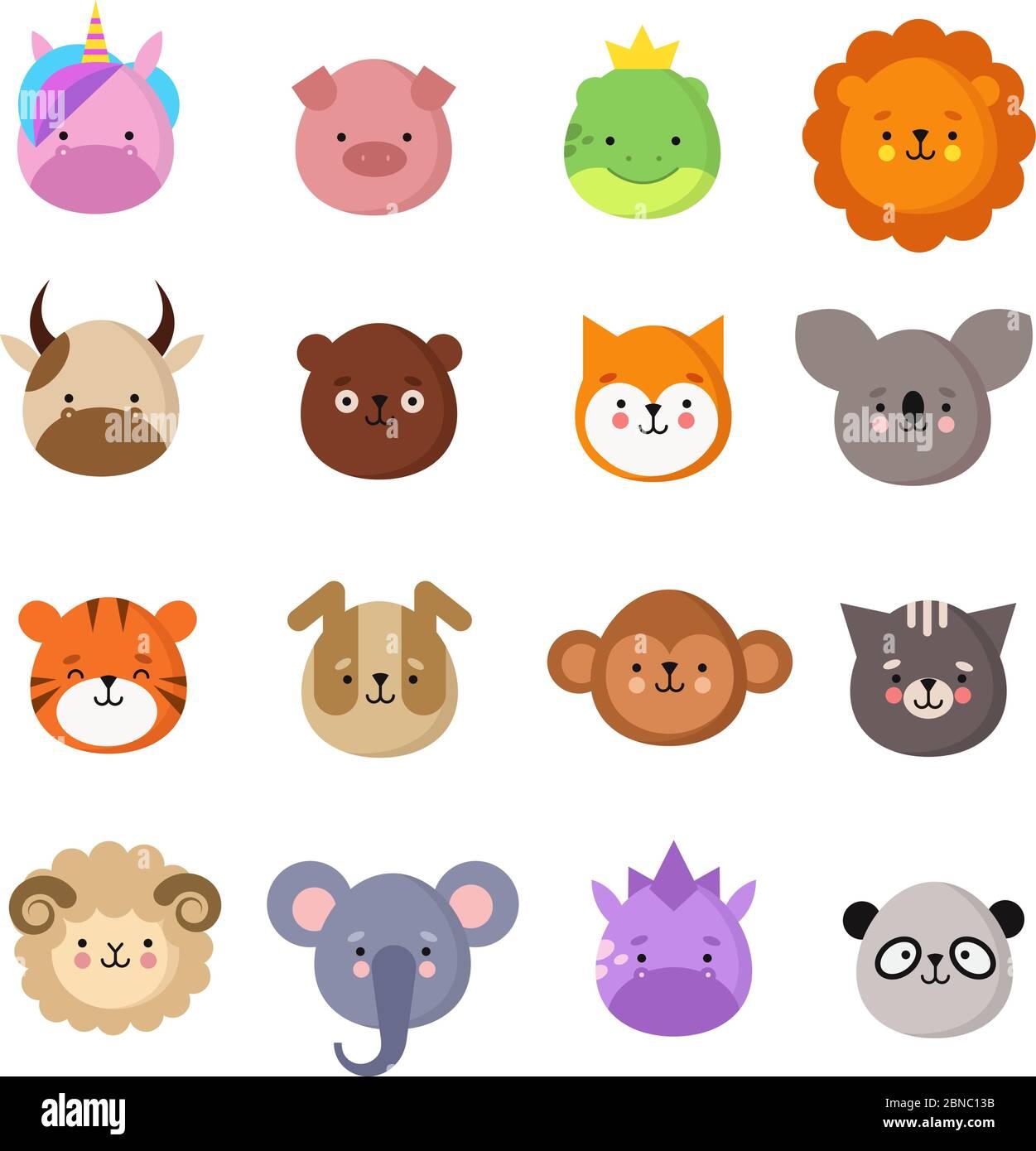 Visages animaux mignons. Chien et chat, vache et renard, licorne et panda. Animal gamin emoji. Collection de vecteurs du zoo de kawaii, comprenant des ovins et des singes, des chats et des tigres, des koala et des ours Illustration de Vecteur
