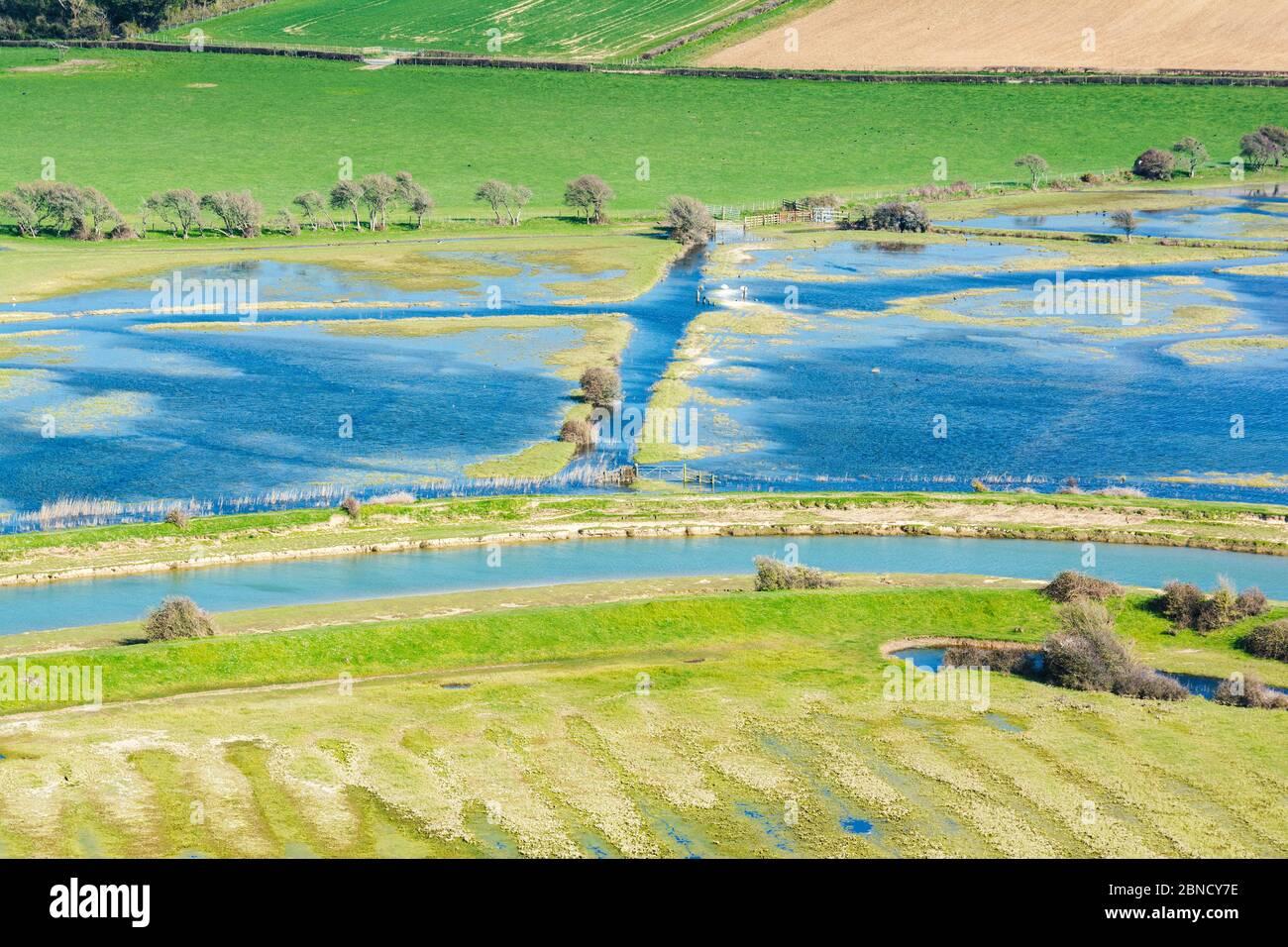 Vue sur la rivière Cuckmere, Sussex Banque D'Images