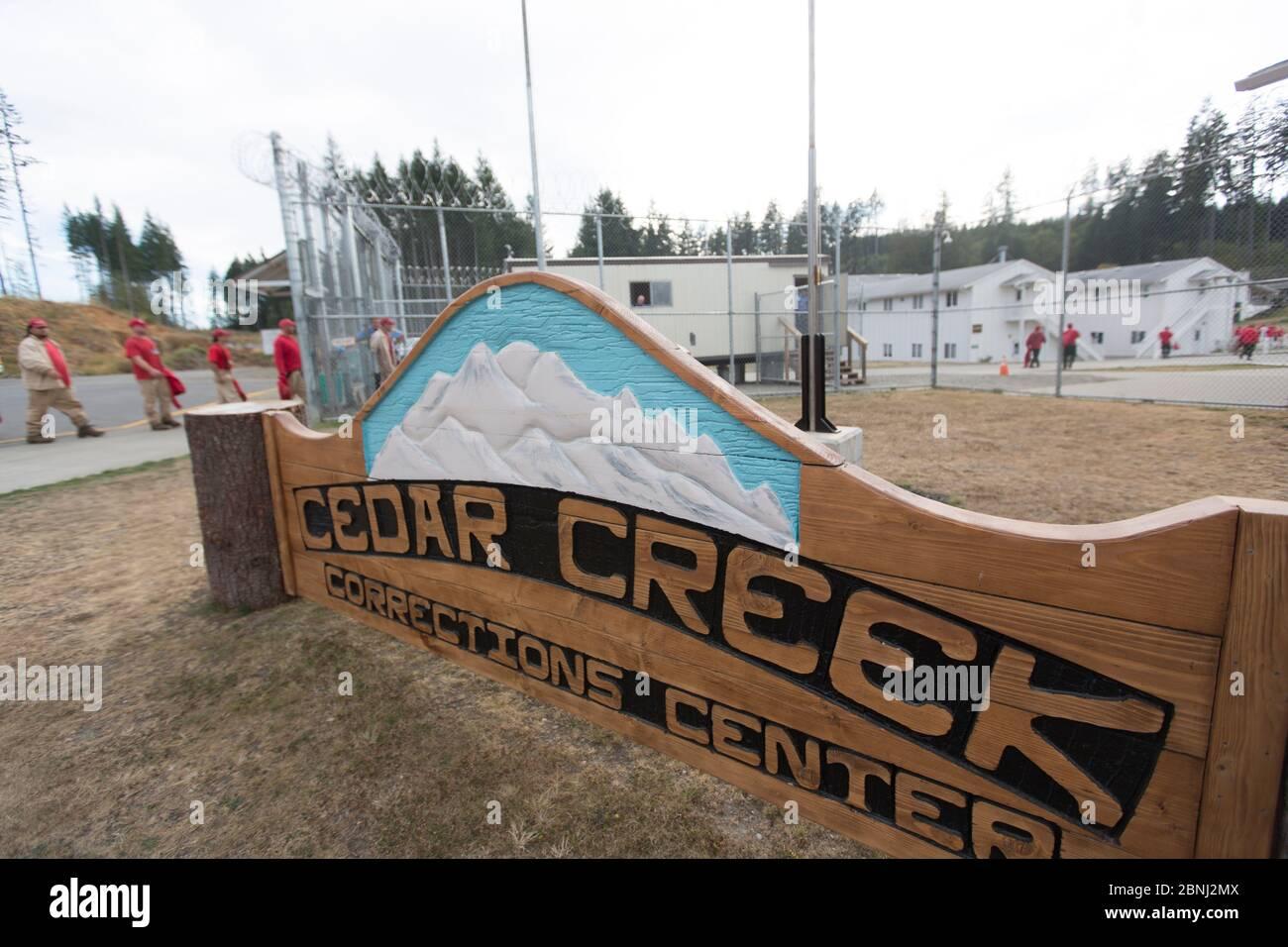 Cedar Creek correction Centre, qui fait partie des projets de durabilité dans les prisons, qui élèvent des espèces en voie de disparition comme la grenouille maculée de l'Oregon (Rana Banque D'Images