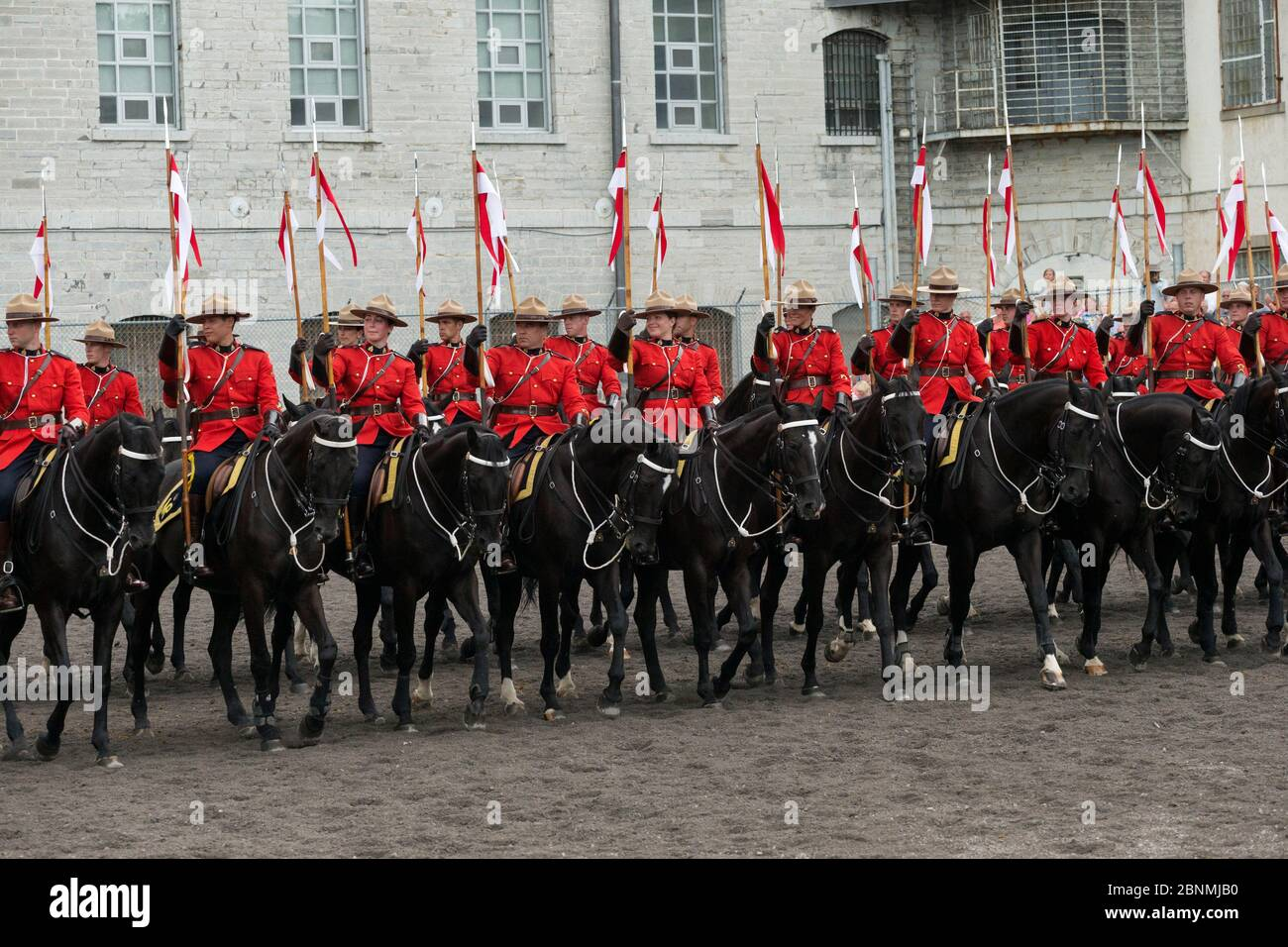 La Gendarmerie royale du Canada se présente au pénitencier de Kingston, à Kingsto, lors du concours équestre de la police nationale américaine (NAPEC) Banque D'Images