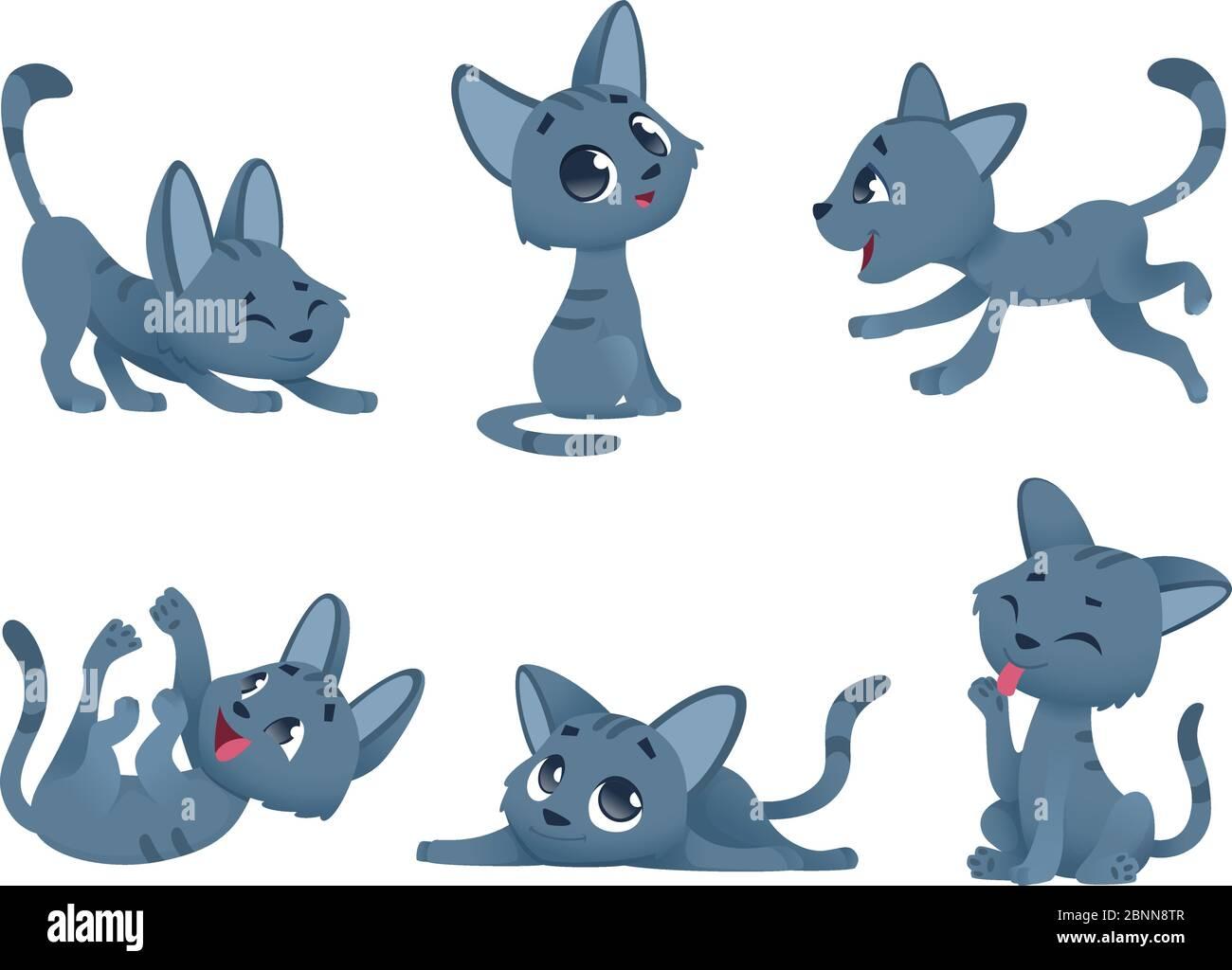 Petits chatons. Chats domestiques mignon et drôle petits animaux de bébé jouant souriant personnages vectoriels isolés Illustration de Vecteur