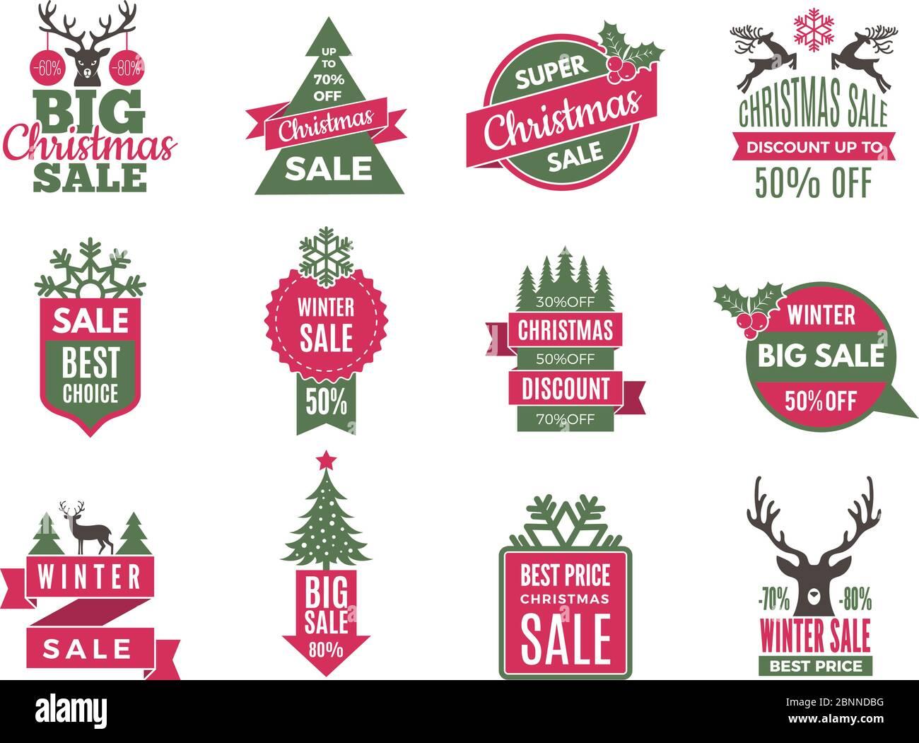 Noël solde étiquettes badges. Les meilleures offres de vacances étiquettes avec de grandes remises Vector Template collection Illustration de Vecteur