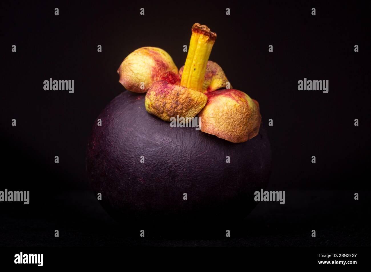 Une photo de Moody, un fruit de mangoustan exotique rouge-violacé, également appelé « Reine des fruits » considéré comme une délicatesse. Studio basse vie de nourriture Banque D'Images