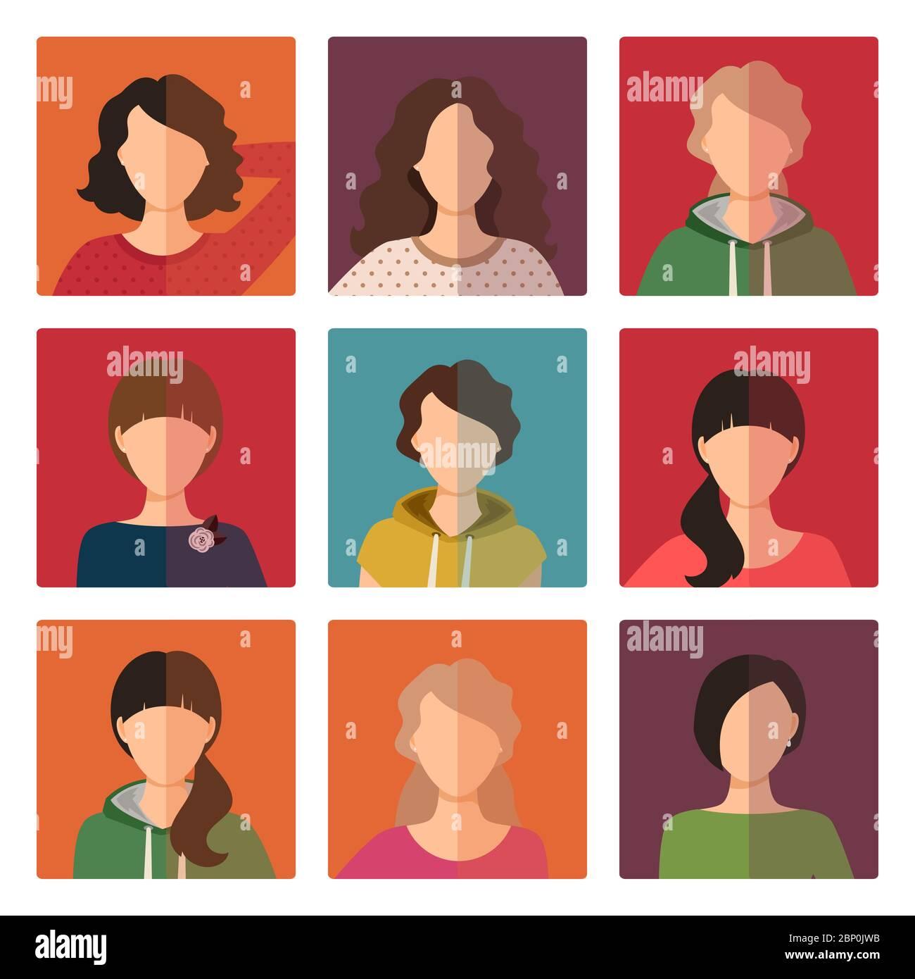Ensemble d'icônes d'avatar pour jeunes filles, illustration vectorielle Illustration de Vecteur