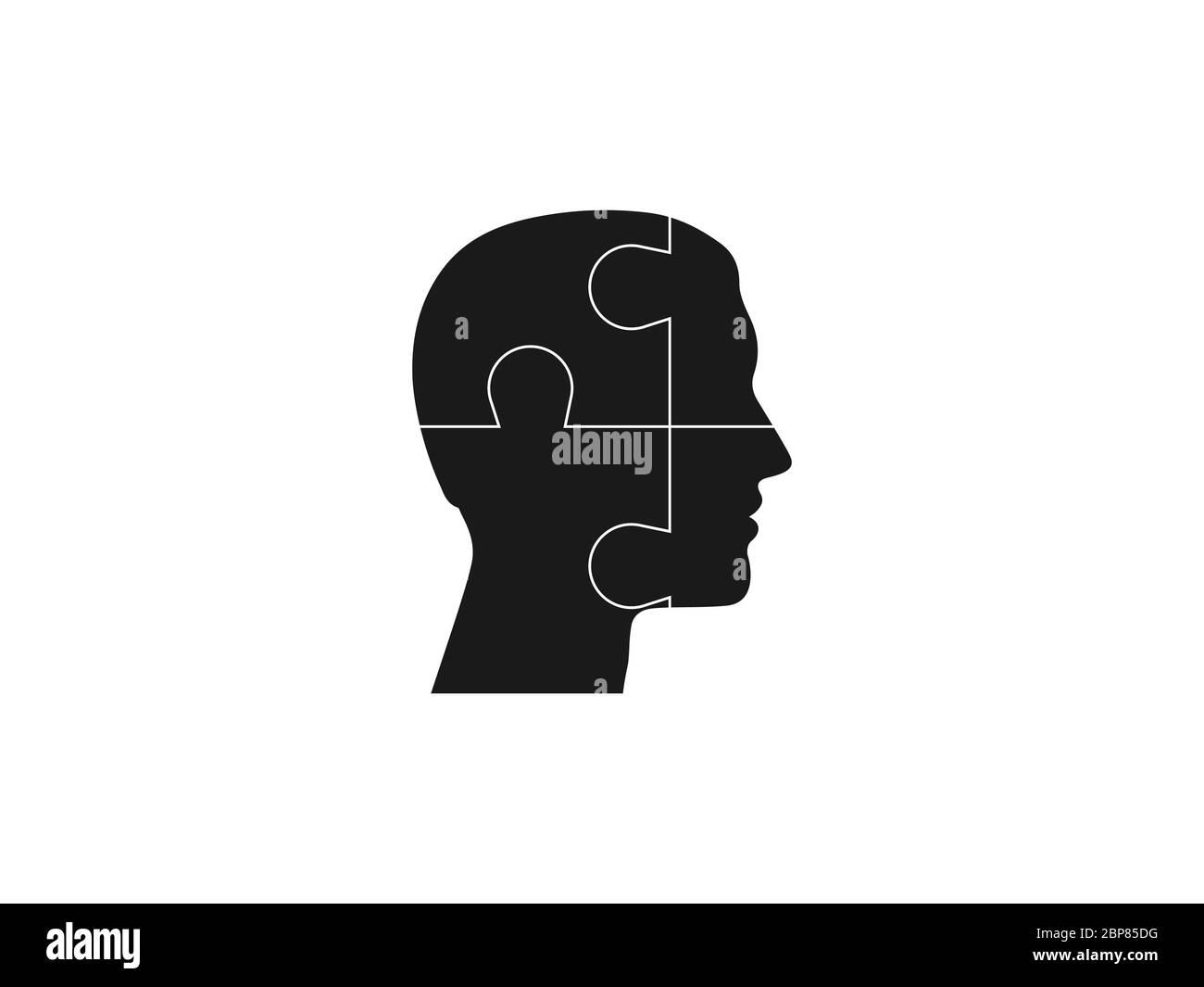 Tête humaine, icône de puzzle. Illustration vectorielle, conception plate. Illustration de Vecteur