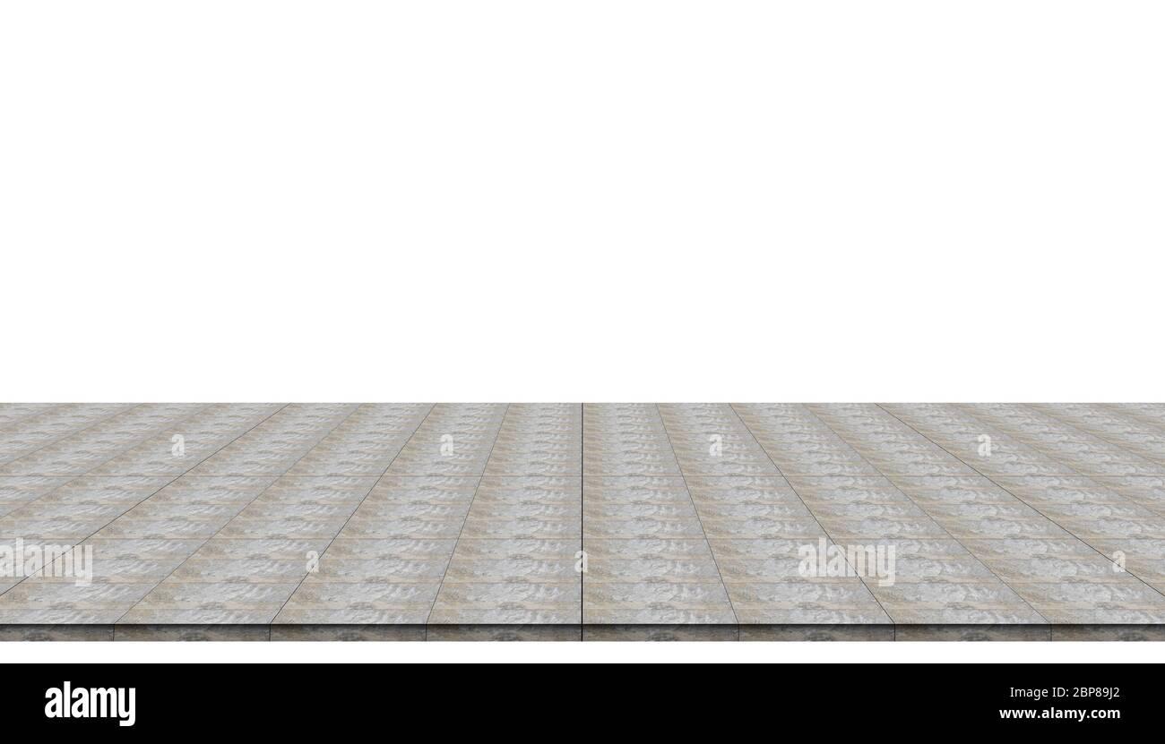Revêtement de sol en béton vide isolé sur fond blanc pour les produits de démonstration ou de maquette. Banque D'Images
