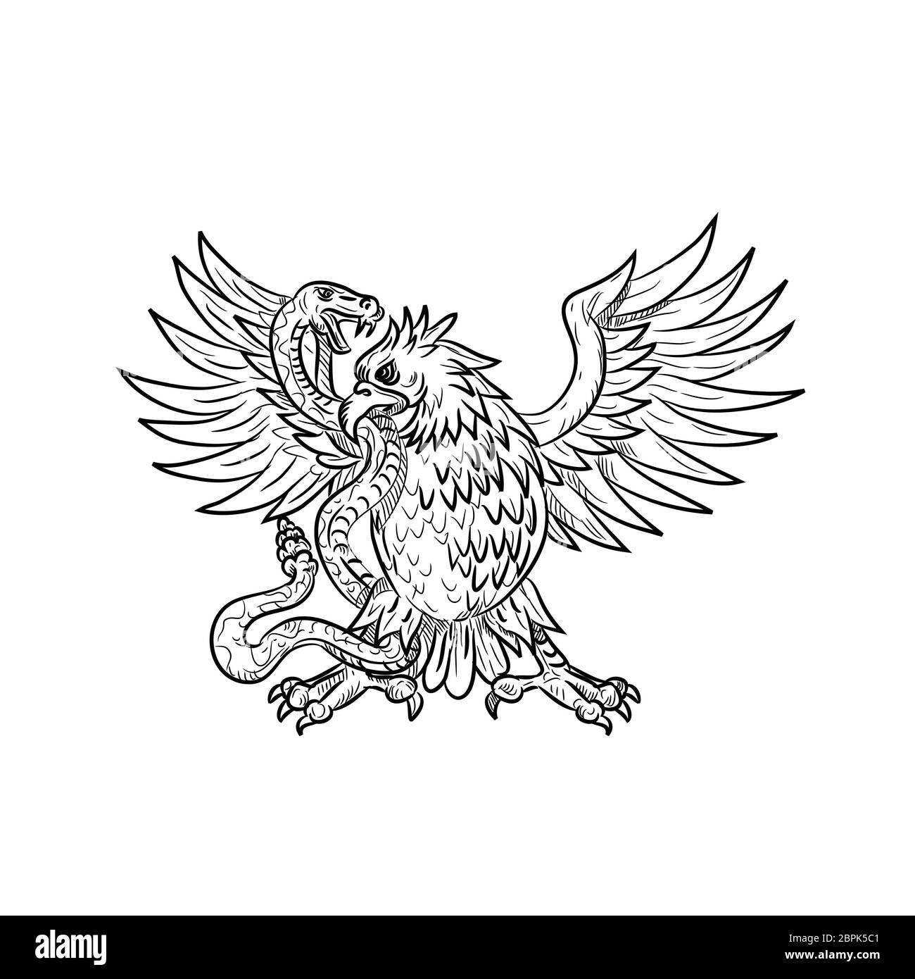 Style croquis dessin illustration d'un Mexican Eagle, l'aigle royal ou du nord caracara huppé combattant un serpent à sonnette, Viper, snake ou serpent à bla Banque D'Images