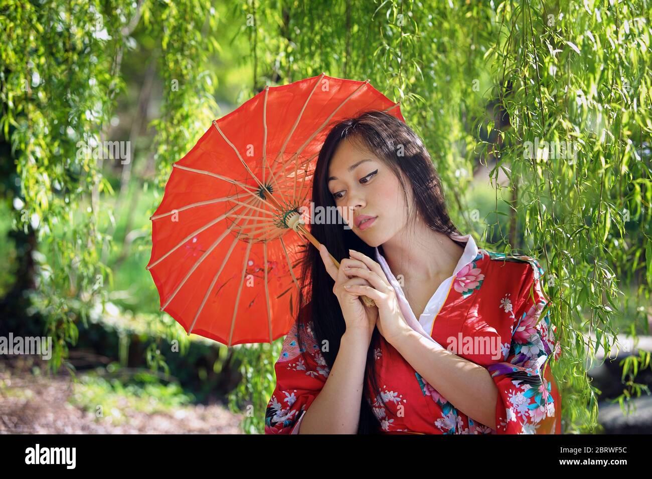 Belle femme orientale sous un saule Banque D'Images