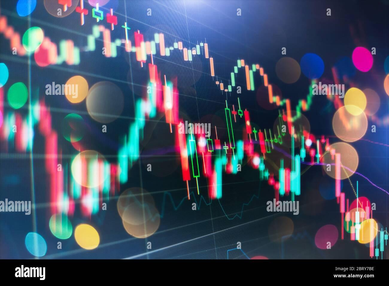 Graphique économique avec des diagrammes sur le marché boursier, pour les entreprises et les concepts financiers et rapports. Banque D'Images