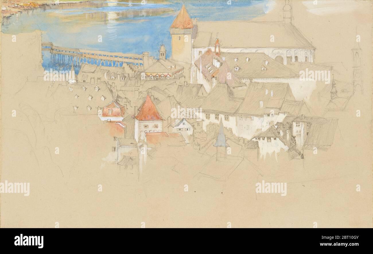 Vue sur Lucerne depuis le dessus, 1861 ou 1866. Banque D'Images