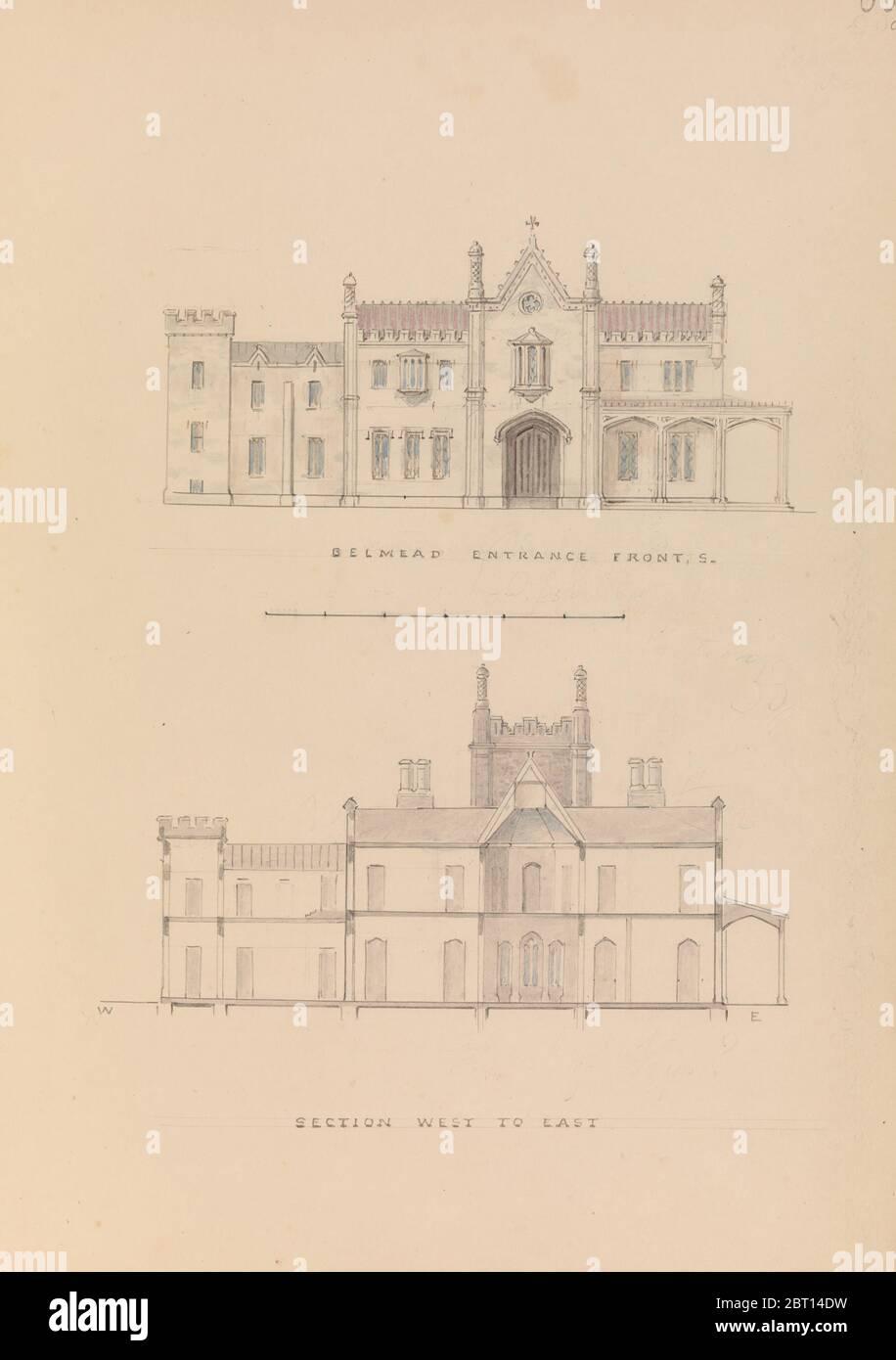 Belmead, James River, Virginie : entrée faç partie ouest-est (recto); section nord-sud et plan de l'étage supérieur (verso), 1845. Banque D'Images
