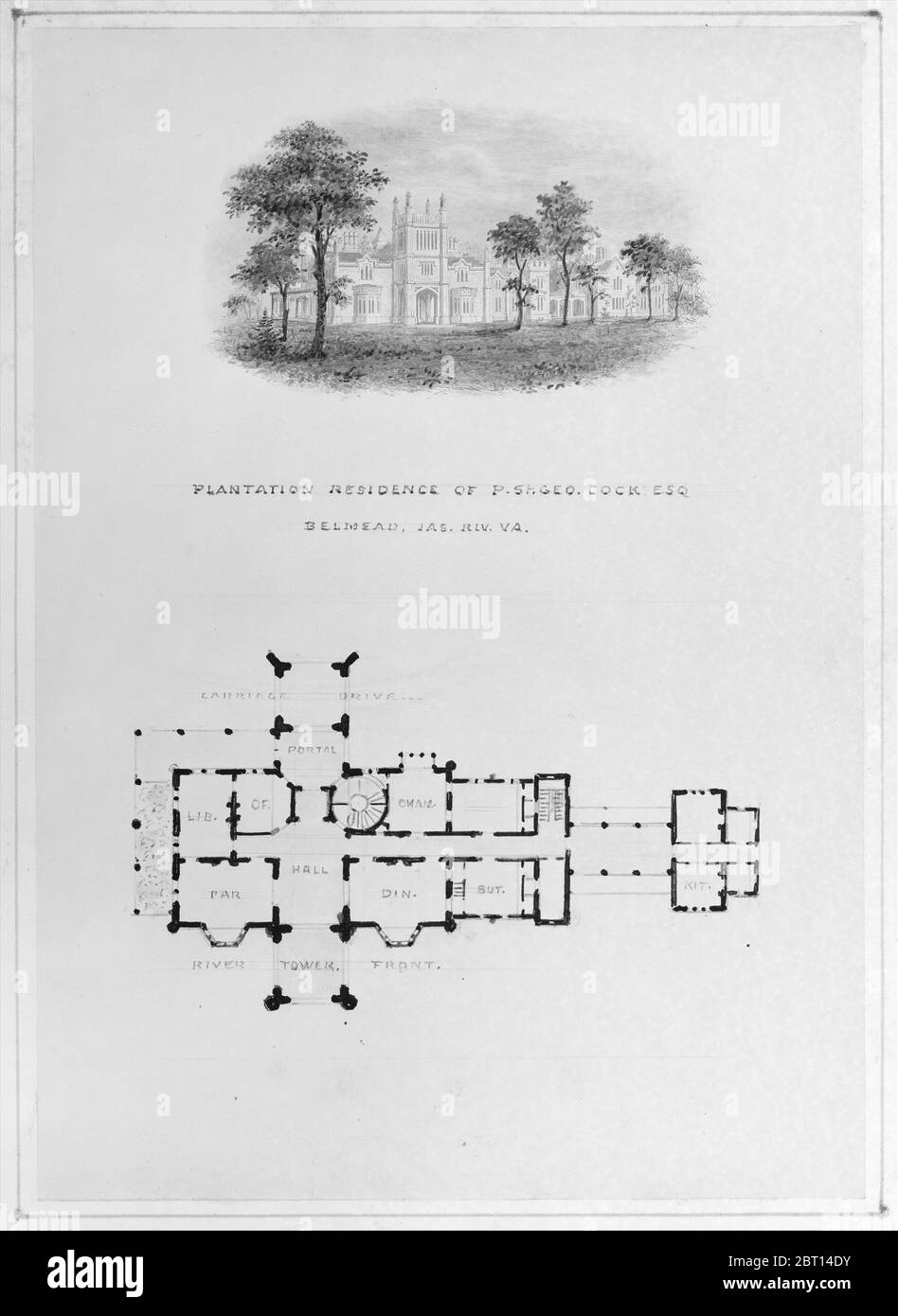 Belmead, James River, Virginie (vignette d'élévation et plan de la rivière), env. 1850. Banque D'Images