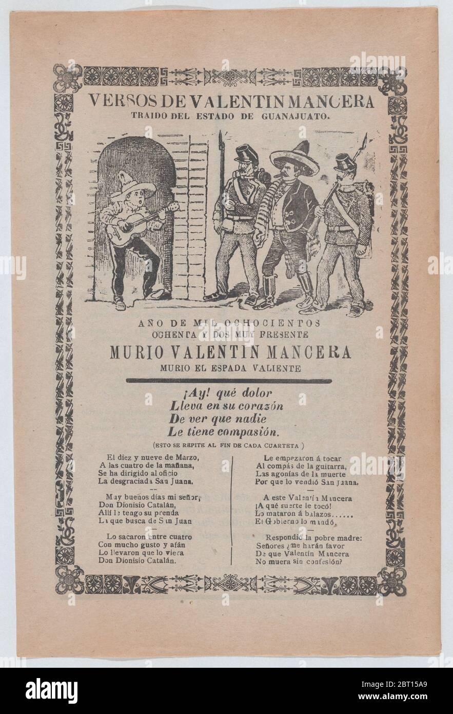 Grand-page relatif à la capture de l'avant-garde Valentín Mancera : guitariste chantant dans une porte, alors que deux soldats escortent Mancera, vers 1902. Banque D'Images