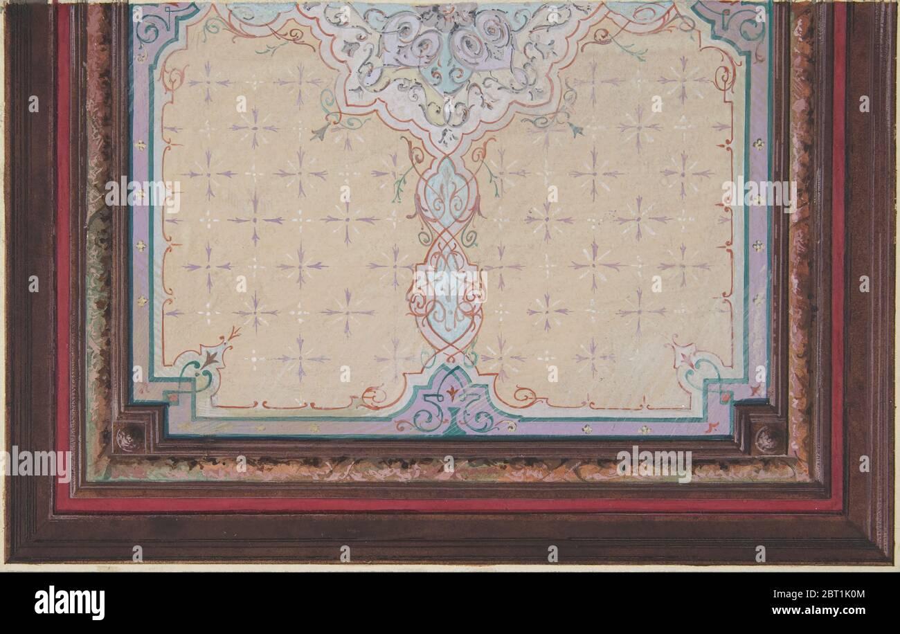 Design pour la décoration peinte d'un plafond avec éclats et crasse, 1830-97. Banque D'Images