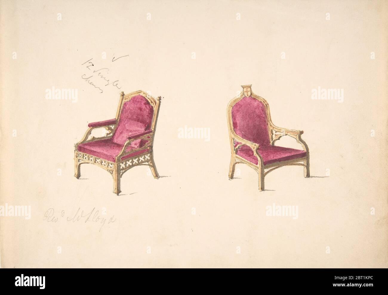 """Design pour deux fauteuils de style médiéval pour """"Rev W. Lloyd », début du XIXe siècle. Banque D'Images"""