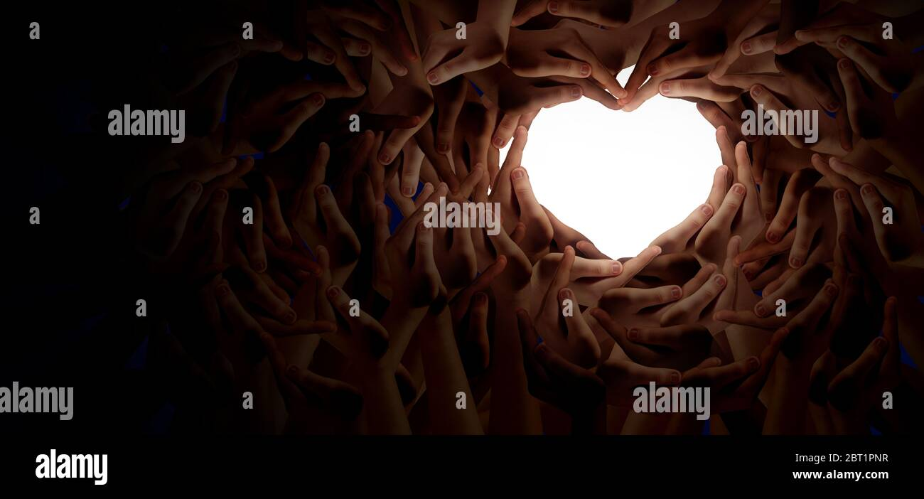 La diversité et le partenariat d'unité comme mains de coeur dans un groupe de personnes diverses connectées a formé comme un symbole de soutien exprimant le sentiment. Banque D'Images