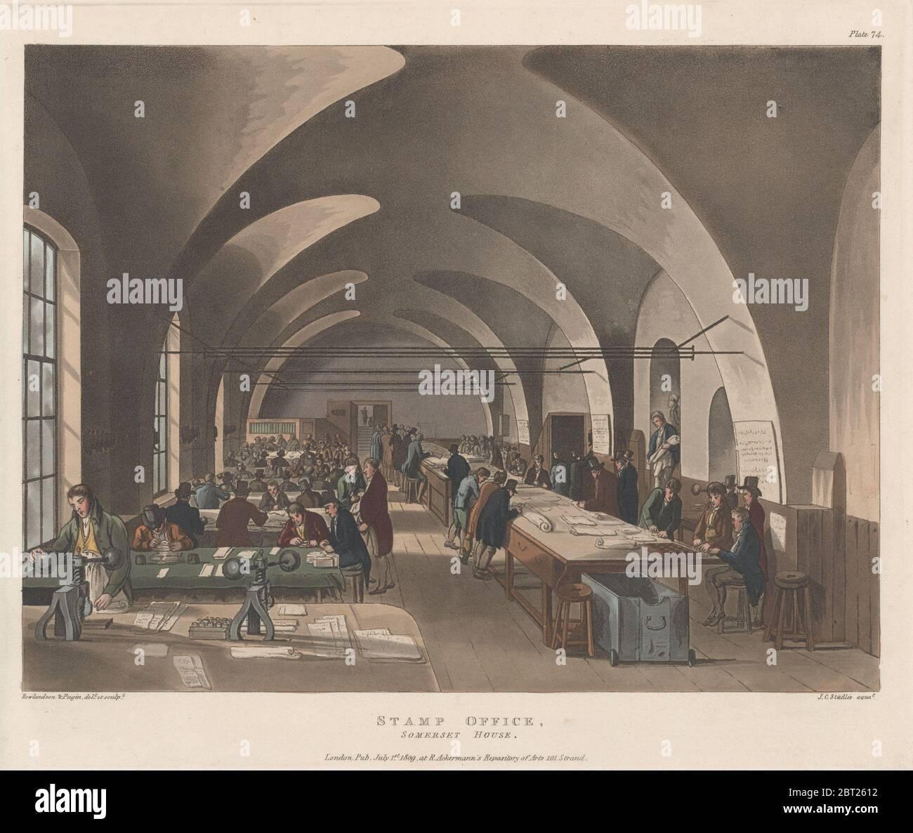 Bureau du timbre, Somerset House, 1er juillet 1809. Banque D'Images